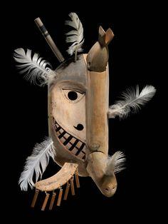Yup'ik mask  Good News Bay, Alaska  ca. 1910  Driftwood, baleen, feathers, paint, cotton twine  12/910