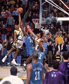 d0f9eaf4ca21 Desmond Mason of the Seattle Supersonics attempts to dunk the ball while  Jamal Mashburn of the