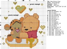 Baby Winnie the Pooh and Baby Tigger Cross Stitch Silhouette, Cross Stitch Fabric, Simple Cross Stitch, Cross Stitch Baby, Cross Stitching, Cross Stitch Embroidery, Disney Cross Stitch Patterns, Christmas Cross, Disney Christmas