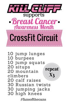 Breast Cancer Awareness Month Crossfit Circuit WOD #fansofthecan #killcliff
