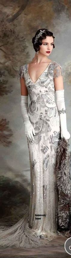 The shape of dresses in the 1920's were silhouettes and embellished very few dresses were above the knee