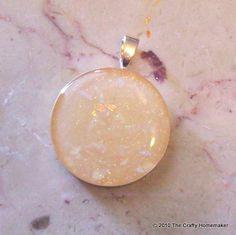 Round Faux Opal Pendant