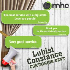 Great job Lubisi Constance!  Visit our Curtaining Department and meet Lubisi Constance. Whatsapp 071 551 5390  #MHCWorld #MHC #WeBeatAnyQuote PLUS 12% on the difference. Bring your formal quote and we will beat it!  Phone: 012 326 6460  Follow us: MHC World  #Happy #Excellent #Testimonial #Satisfied #Service #CustomerService Formal Quotes, Magic Table, Melamine Tray, Electronics Online, Black Lantern, Support Pillows, Baby Learning, Water Slides, Big Love