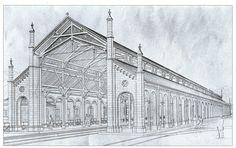 Bahnhalle des Freiburger Bahnhof um 1840    Die Bahnhalle, Stich um 1840 Die Lage Freiburgs war eine besondere Herausforderung für die Konstrukteure bei der Planung der Badischen Hauptbahn von Offenburg über Freiburg nach Basel.