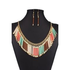 4.83$  Watch now - http://div1m.justgood.pw/go.php?t=172951104 - A Suit of Bohemia Alloy Tassel Necklace and Earrings 4.83$