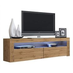Milano Classic Modern 16 color 63-inch TV Stand | Overstock.com Shopping - The Best Deals on Entertainment Centers - Gray/Wavy Black Led Tv Stand, Floating Tv Stand, Coastal Furniture, Living Room Furniture, Modern Furniture, Living Room Storage, Storage Spaces, 70 Inch Tvs, Black Tv Stand