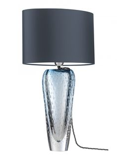 Esme Sapphire table Lamp | Free blown by master craftsmen in melted coloured glass with strawberry piping detail– each piece will be individual.