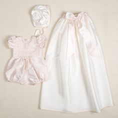 Baby Girl Convertible Silk Christening and Baptism Gown set – Baby Beau and Belle Baby Girl Christening Gowns, Christening Outfit, Baptism Dress, Christening Party, Lace Jumpsuit, Lace Romper, Baby Girl Dresses, Flower Girl Dresses, Silk Bonnet