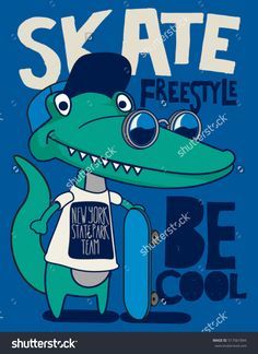 cool, cute monster crocodiles character. skate, skateboard