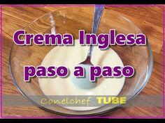 Crema Inglesa - Técnica de elaboración - YouTube Salsa Dulce, Bistro Food, Cordon Bleu, Vinegar, Frosting, Jelly, Dips, Sweets, Cream