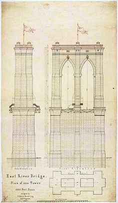 "Plan for the East Tower of the Brooklyn Bridge (then the ""East River Bridge"") completed in 1883. Massive ""caissons"" -- watertight wooden boxes sunk to the river floor and pumped full of pressurized air -- were used to build the foundations."