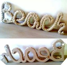 Nautical rope beach sign lake beach house decor office boys room - Nautical Baby Names - Ideas of Nautical Baby Names - Beach rope sign. Child's name favorite teams. Rope Crafts, Beach Crafts, Shell Crafts, Beach Cottage Style, Beach House Decor, Home Decor, Do It Yourself Wedding, Beach Room, Craft Ideas