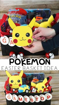 Build your own Pokemon Easter Basket -(sponsored) GameStop is your one-stop shop for Easter! Easy way to build your own Pokemon Easter basket for kids! Free template for DIY Pikachu card and DIY Pokeball Easter eggs tutorial. Pokemon Craft, Pokemon Toy, Pokemon Party, Pokemon Birthday, Pokemon Super, Pokemon Comics, Pokemon Funny, Pokemon Memes, Easter Crafts For Kids