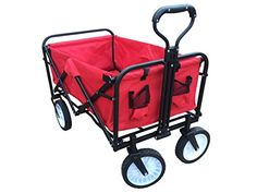 ABO Gear Collapsible Folding Utility Wagon Garden Cart Shopping Buggy Yard Beach Cart Red -- New and awesome product awaits you, Read it now  : Gardening DIY