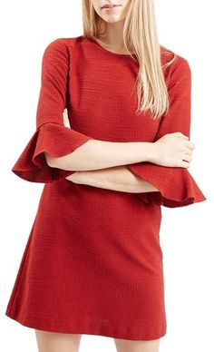Topshop Fluted Sleeve Dress: Fluted elbow sleeves and a bold red hue add a fun, retro kick to this A-line minidress cut from textured stretch cotton.
