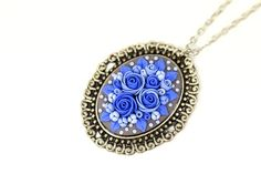 Bright Blue Floral Pendant Necklace Christmas Gift for Her Blue Flowers Necklace with Flowers Floral Jewelry Feminine Necklace Vintage Style