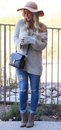 #winter #fashion /  Grey Off Shoulder Knit /pink Hat