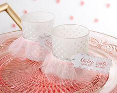 Tutu Cute Frosted Glass Votive (Set of 4) for Baby Shower  #babygirl #babyshower #tutu