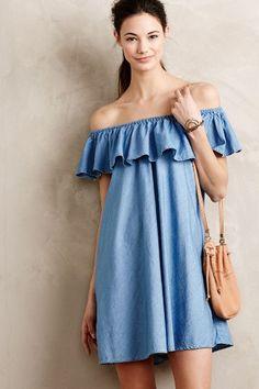 Alexa Chung for AG Ruffled Chambray Dress - anthropologie.com