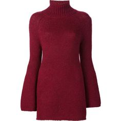 Rosetta Getty bell sleeve turtleneck sweater (945 AUD) ❤ liked on Polyvore featuring tops, sweaters, dresses, blusas, vestidos, red, red sweater, bell sleeve tops, polo neck top and bell sleeve sweater