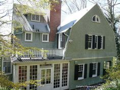 Exterior House Painting - Soft Green with White Trim and Black Shutters - Baltimore, MD Exterior Paint Colors, Exterior House Colors, Paint Colors For Home, Wood Siding House, Green Siding, Black Shutters, Black House Exterior, Industrial House, White Trim