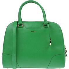 Furla Handbag ($225) ❤ liked on Polyvore featuring bags, handbags, green, studded purse, green purse, leather doctor bag, leather handbags et leather doctor bag handbag