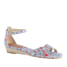 """J. CREW """"MARINA"""" MINI-WEDGE ESPADRILLES Beautiful spring and summer shoe from J. Crew in Liberty London's Matilda Tulip print~~   *worn twice*  Cotton twill upper. Leather lining and sole. Cotton canvas footbed. 7/8"""" heel J. Crew Shoes Wedges"""