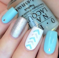 pretty nail designs ideas for 2016 - Real Hair Cut . Pretty Nail Designs, Nail Art Designs, Blue Nails, White Nails, Nagellack Design, Nagel Hacks, Manicure E Pedicure, Nail Decorations, Creative Nails