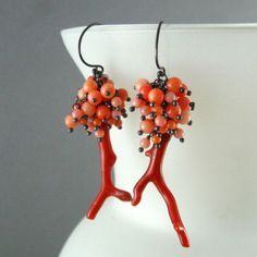 Coral Cluster Earrings, Red and Salmon Coral, Oxidized Silver Cluster