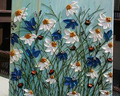 Original Modern White Daisy Blue Flowers Heavy Impasto Palette Knife Acrylic Painting.
