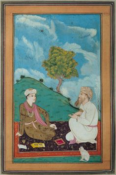 """A Teacher and his Pupil"",1674. Anonymous, Persian School."