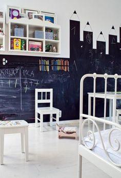 chambre enfant décorée de peinture ardoise et étagères murales