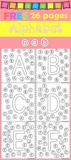 FREE Freebies Alphabet Dap A-Z 26 pages. For PreK and Kindergarten. by bernadette Preschool Letters, Learning Letters, Kindergarten Literacy, Preschool Learning, Kindergarten Classroom, Letter Recognition Kindergarten, Beginning Of Kindergarten, Letter Of The Week, Literacy Activities