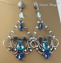 Caribbean breeze- Swiss Blue Topaz, Kyanite, Sky blue topaz, fine 999/sterling silver chandelier post earrings