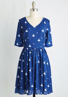 Peerless Pirouette Dress. When it comes to refined style, you ballet it all on the line with this navy dress. #blue #modcloth
