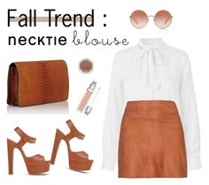"""""""Fall Trend: Necktie Blouse"""" by sarah-who ❤ liked on Polyvore featuring Naja Lauf, Alice + Olivia, Brian Atwood, Dolce&Gabbana, Zagliani, MAC Cosmetics, Christian Dior, contestentry and falltrend"""