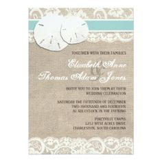 "Beach Rustic Burlap Lace Wedding Invitation 5"" X 7"" Invitation Card"