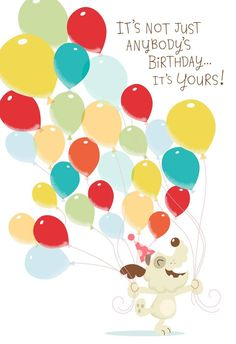"An adorable dog has come to bring pop-up balloons and a birthday surprise for someone special. Open the card to hear a fun version of ""Happy Birthday to You."""