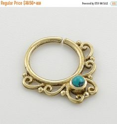 Labor Day Sale Turquoise septum ring. brass by Umanativedesign