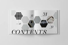 Hexagonal table of contents in subdued grey hues