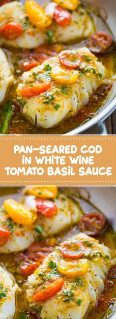 Pan-Seared Cod in White Wine Tomato Basil Sauce | This is A quick and easy recipe for Pan-Seared Cod in White Wine Tomato Basil Sauce! #tomatobasil #whitewine #dinner | foodndrink.world Basil Recipes, Lunch Recipes, Wine Recipes, Cooking Recipes, Healthy Recipes, Recipes Dinner, Healthy White Fish Recipes, Recipes With White Wine, Party Recipes