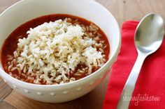 Stuffed Pepper Soup Ingredients:  3 cups cooked brown rice  1 lb 95% lean ground beef  1/2 cup chopped green bell pepper  1/2 cup chopped red bell pepper  1 cup finely diced onion  3 cloves garlic, chopped  2 cans (14.5 oz each) cans petite diced tomatoes  1 3/4 cups tomato sauce  2 cups reduced sodium, fat-free chicken broth  1/2 tsp dried marjoram  salt and fresh pepper to taste