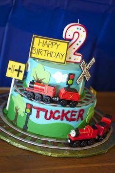 Train birthday party; train birthday cake
