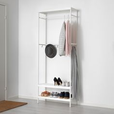 IKEA - MACKAPÄR, Coat rack with shoe storage unit, white, You can place the clothes rail at the front or rear part of the cabinet, depending on if you want to use hangers or hooks. The hooks can be moved around to suit what you hang up. Ikea Algot, Shoe Storage Unit, Small Storage, Shoe Shelves, Ikea Storage Solutions, Ikea 2018, White Coat Rack, Dressing Ikea, Small Entryways