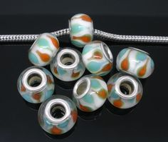 Orange, Teal and White Lampwork Glass Beads.  Tophatter.com!