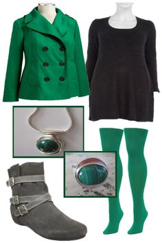 Mad for emerald green! 6-button peacoat, oldnavy.com. Black knitted rib dress, evans.co.uk. Plus size emerald green tights, welovecolors.com. Handmade silver and malachite locket and ring, Aimeekleejewelry at etsy.com. Steve Madden Captane Ankle Boot at amazon.com.