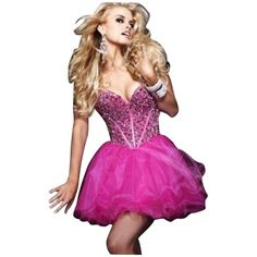 Pre-owned Sherri Hill Pink Dress ($259) ❤ liked on Polyvore featuring dresses, pink, beaded cocktail dress, sherri hill, beaded dress, pink dress and short cocktail dresses