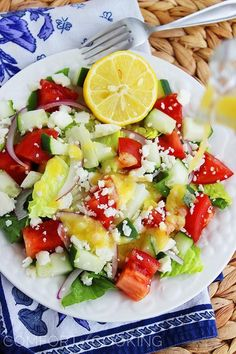 Greek salad with lemon vinaigrette from Comfort of Cooking  + 4 other delicious recipes in this week's meal plan.