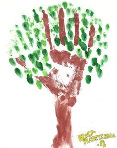 Drzewo - Kartka z bloku - Farby plakatowe (brązowa i zielona) - Kubek z wodą - Pędzel