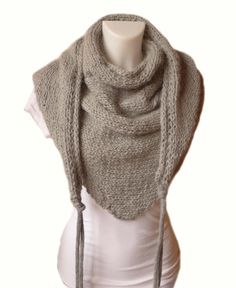 Baby Alpaca Triangle Shawl - Women knit scarf